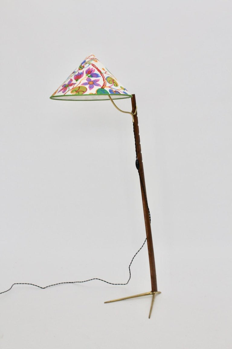 Mid-Century Modern Vintage Wood Brass Floor Lamps by Rupert Nikoll, 1950s Vienna For Sale 8