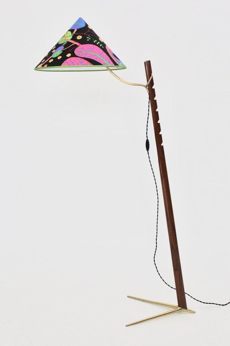 Mid-Century Modern Vintage Wood Brass Floor Lamps by Rupert Nikoll, 1950s Vienna For Sale 13