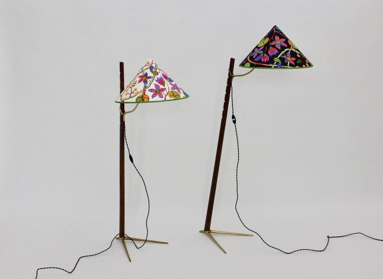 20th Century Mid-Century Modern Vintage Wood Brass Floor Lamps by Rupert Nikoll, 1950s Vienna For Sale
