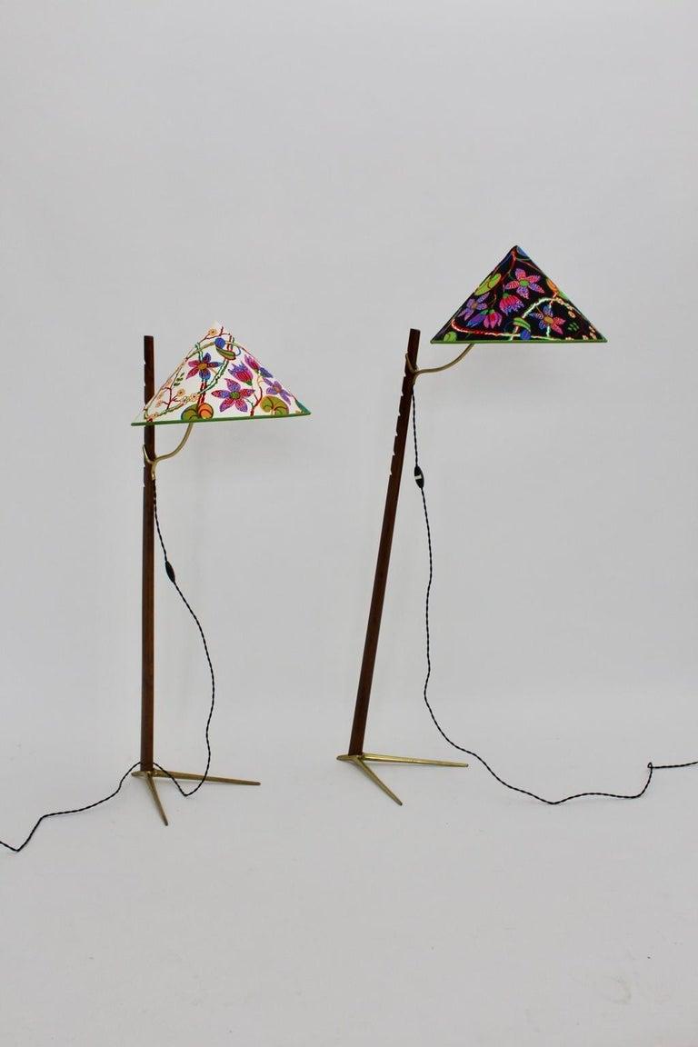 Mid-Century Modern Vintage Wood Brass Floor Lamps by Rupert Nikoll, 1950s Vienna For Sale 1