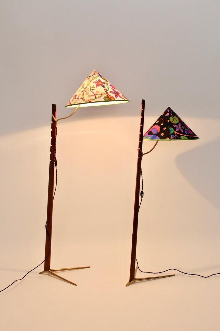 Mid-Century Modern Vintage Wood Brass Floor Lamps by Rupert Nikoll, 1950s Vienna For Sale 3