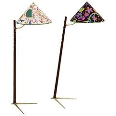 Mid-Century Modern Vintage Wood Brass Floor Lamps by Rupert Nikoll 1950s Vienna
