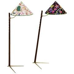 Mid-Century Modern Vintage Wood Brass Floor Lamps by Rupert Nikoll, 1950s Vienna