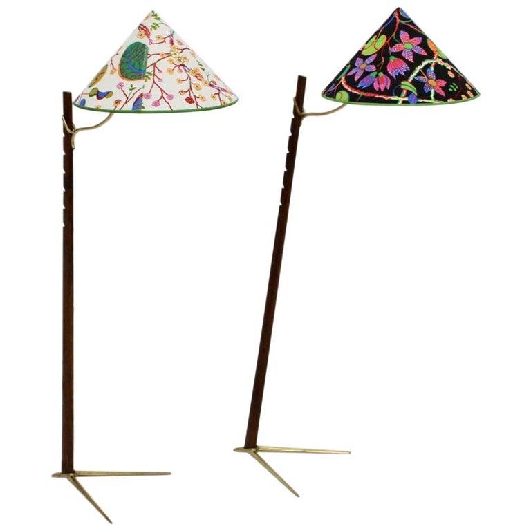 Mid-Century Modern Vintage Wood Brass Floor Lamps by Rupert Nikoll, 1950s Vienna For Sale