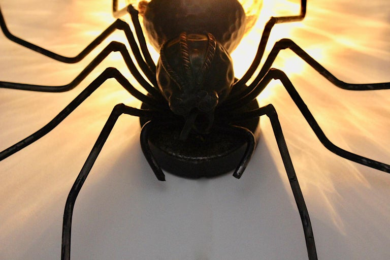 Mid-Century Modern Vintage Yellow Glass Metal Spider Fly Wall Light Sconce Italy For Sale 10