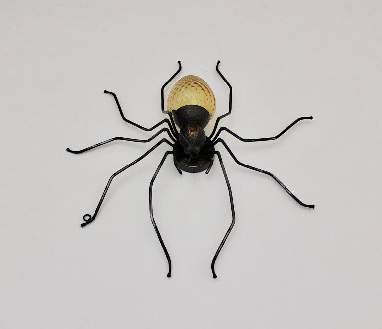 Italian Mid-Century Modern Vintage Yellow Glass Metal Spider Fly Wall Light Sconce Italy For Sale