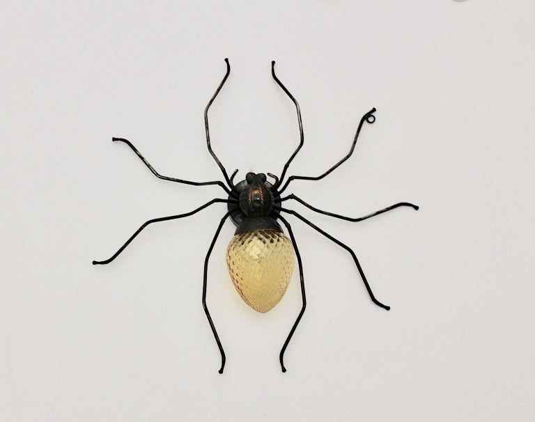 20th Century Mid-Century Modern Vintage Yellow Glass Metal Spider Fly Wall Light Sconce Italy For Sale