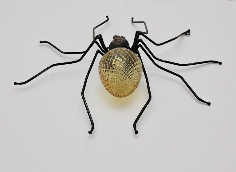 Mid-Century Modern Vintage Yellow Glass Metal Spider Fly Wall Light Sconce Italy For Sale 1