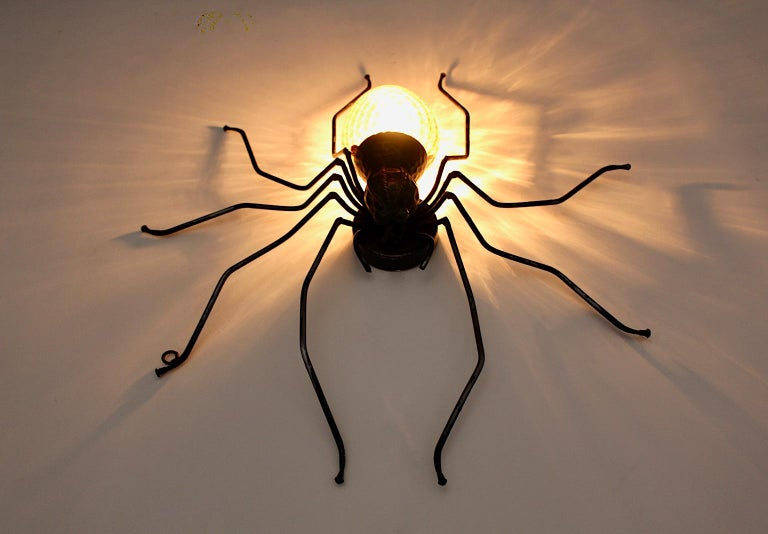 Mid-Century Modern Vintage Yellow Glass Metal Spider Fly Wall Light Sconce Italy For Sale 2