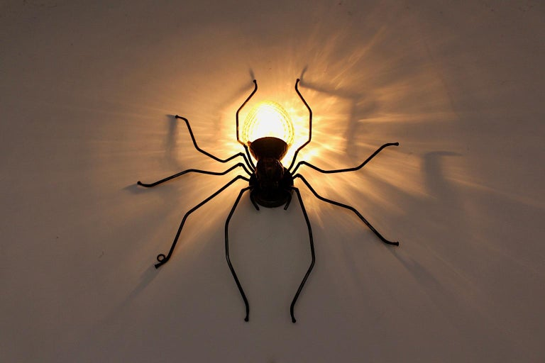 Mid-Century Modern Vintage Yellow Glass Metal Spider Fly Wall Light Sconce Italy For Sale 3