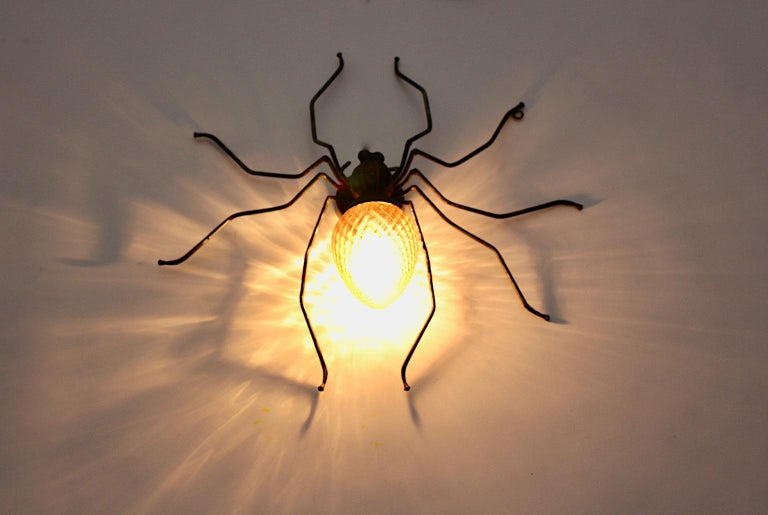 Mid-Century Modern Vintage Yellow Glass Metal Spider Fly Wall Light Sconce Italy For Sale 4