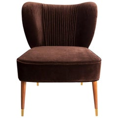 Mid-Century Modern Visconti Armchair Cotton Velvet Walnut Wood