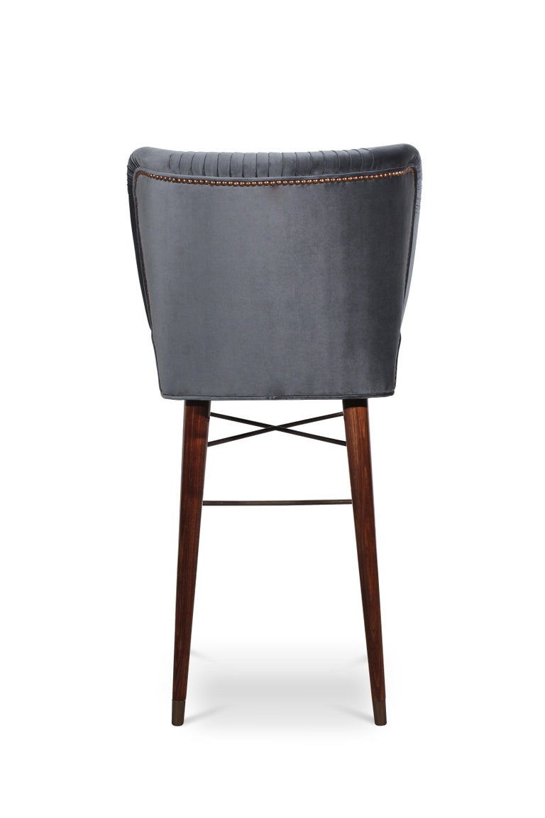 Portuguese Mid-Century Modern Visconti Bar Chair Walnut Wood Cotton Velvet For Sale