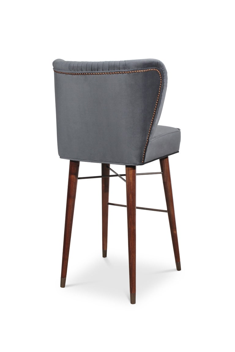 Mid-Century Modern Visconti Bar Chair Walnut Wood Cotton Velvet In New Condition For Sale In RIO TINTO, PT