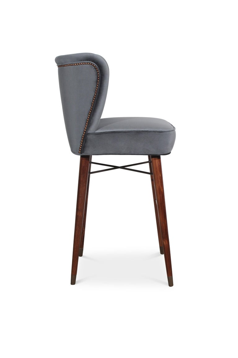Contemporary Mid-Century Modern Visconti Bar Chair Walnut Wood Cotton Velvet For Sale