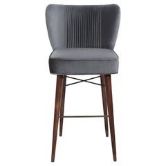 Mid-Century Modern Visconti Bar Chair Walnut Wood Cotton Velvet