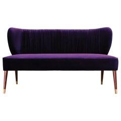 Mid-Century Modern Visconti Twin Seat Cotton Velvet Walnut Wood