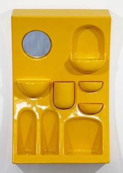 Mid-Century Modern Vitra Italian Yellow Plastic Wall Organizer with Mirror 1960s