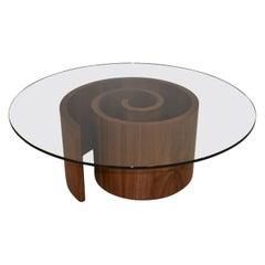 Mid-Century Modern Vladimir Kagan Walnut Snail Coffee Table