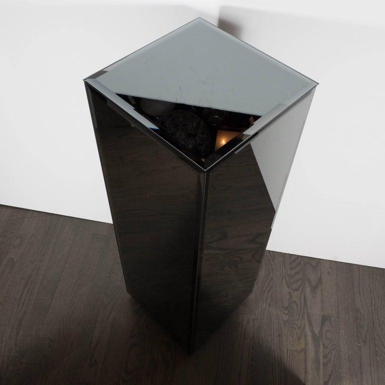 Mid-Century Modern Volumetric Rectangular Smoked Mirror & Hand Beveled Pedestal For Sale 5