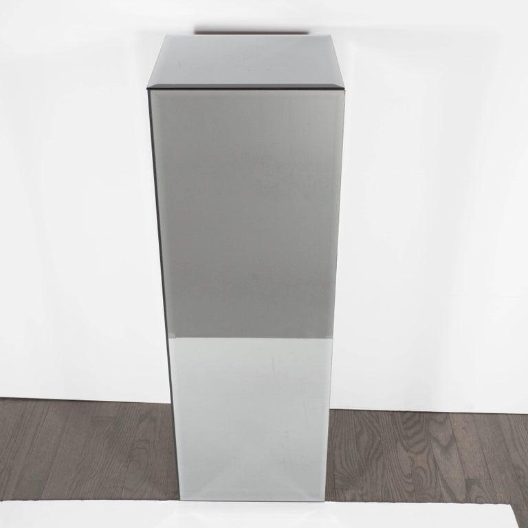 American Mid-Century Modern Volumetric Rectangular Smoked Mirror & Hand Beveled Pedestal For Sale