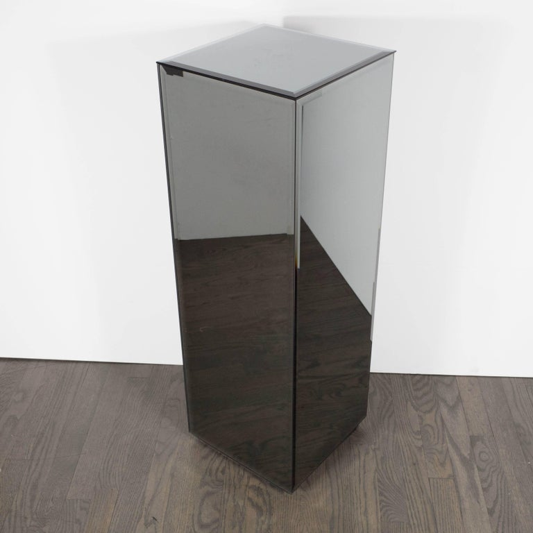 Mid-Century Modern Volumetric Rectangular Smoked Mirror & Hand Beveled Pedestal In Excellent Condition For Sale In New York, NY