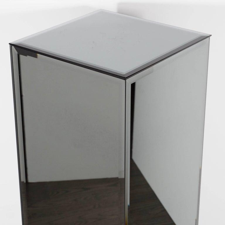 Late 20th Century Mid-Century Modern Volumetric Rectangular Smoked Mirror & Hand Beveled Pedestal For Sale