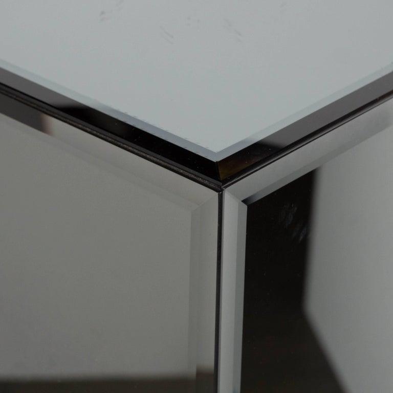 Mid-Century Modern Volumetric Rectangular Smoked Mirror & Hand Beveled Pedestal For Sale 1