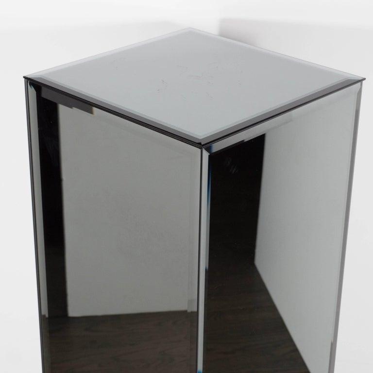 Mid-Century Modern Volumetric Rectangular Smoked Mirror & Hand Beveled Pedestal For Sale 3