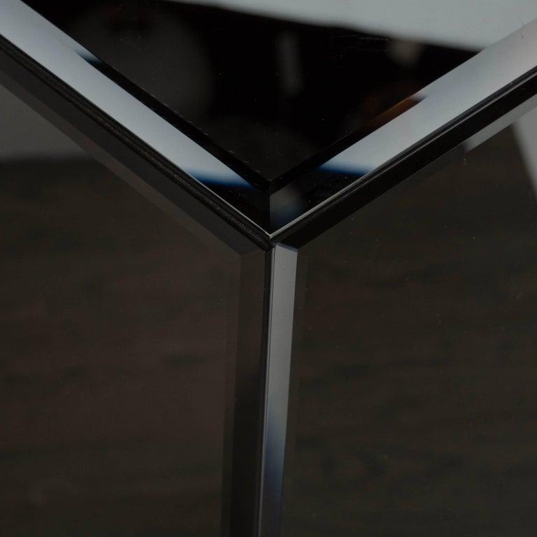 Mid-Century Modern Volumetric Rectangular Smoked Mirror & Hand Beveled Pedestal For Sale 4