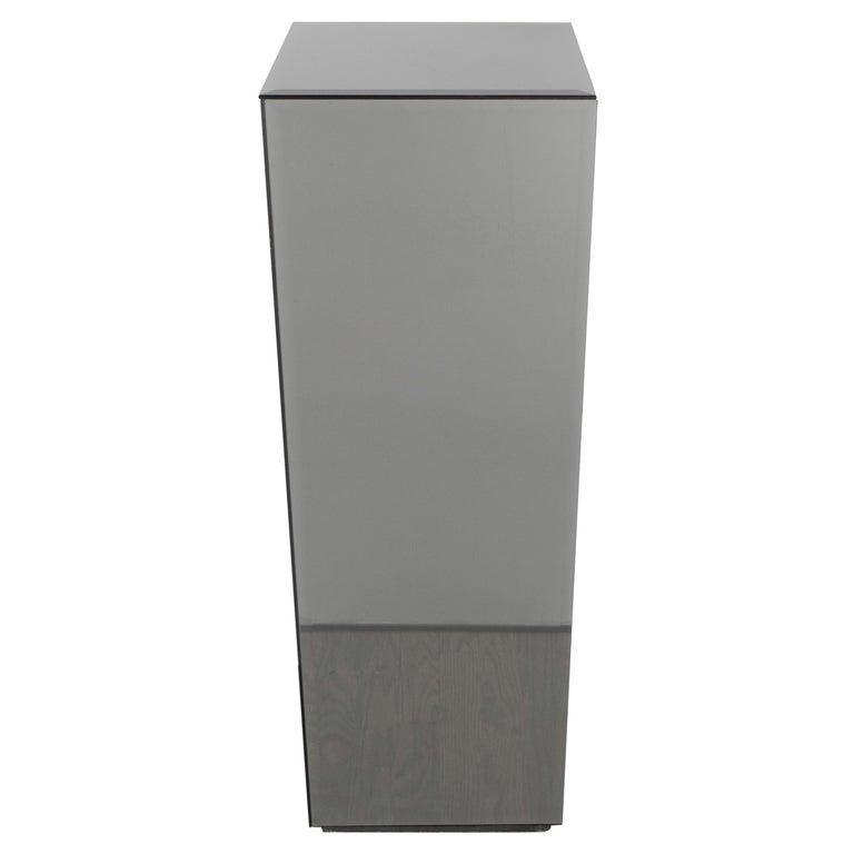 Mid-Century Modern Volumetric Rectangular Smoked Mirror & Hand Beveled Pedestal For Sale