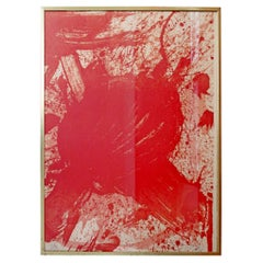 Mid-Century Modern Walasse Ting Signed Abstract Lithograph Red 20/30, 1960s