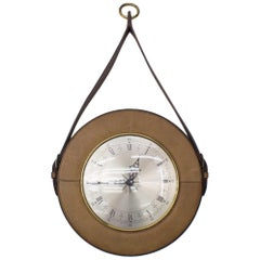 Mid-Century Modern Wall Clock in Leather and Brass, Germany