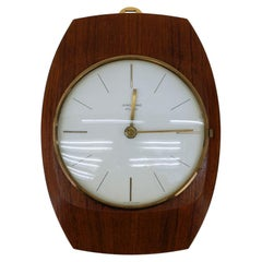 Mid-Century Modern Wall Clock in Teak and Brass by Junghans, Germany