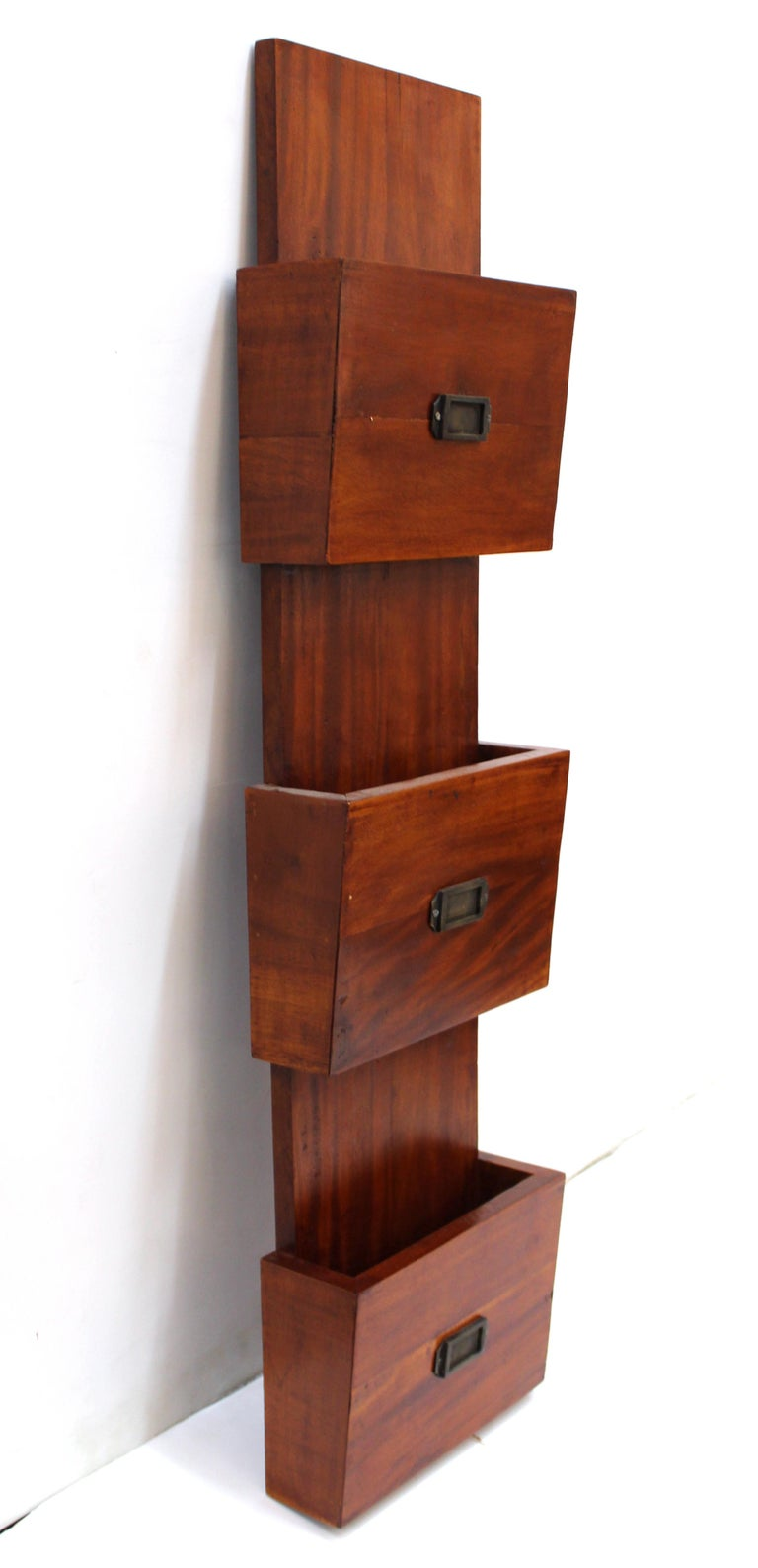 Mid Century Modern Wall Document Holder In Wood For Sale