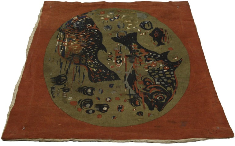 71623, Mid-Century Modern wall hanging of fishes by André Minaux. This Mid-Century Modern tapestry depicts two large fish and one small fish swimming surrounded by a burnt orange border. Rendered in variegated shades of burnt orange, ink blue, navy