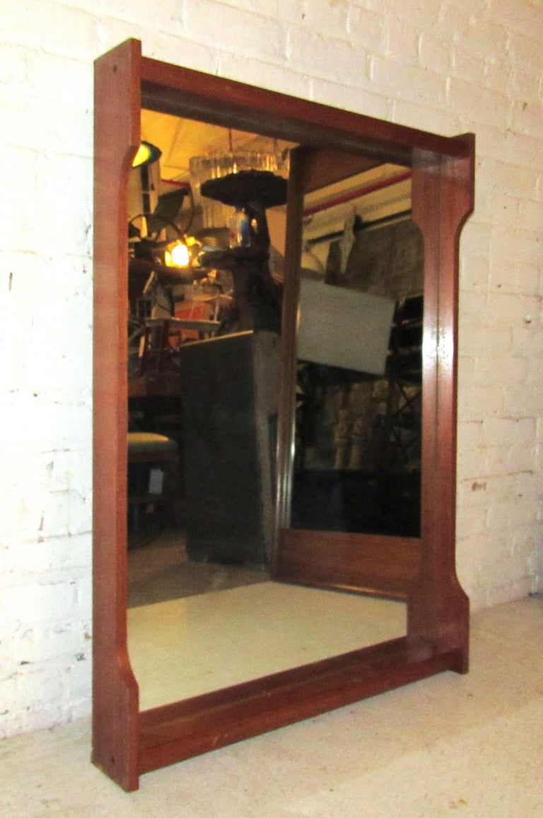 Wood Mid-Century Modern Wall Mirror For Sale