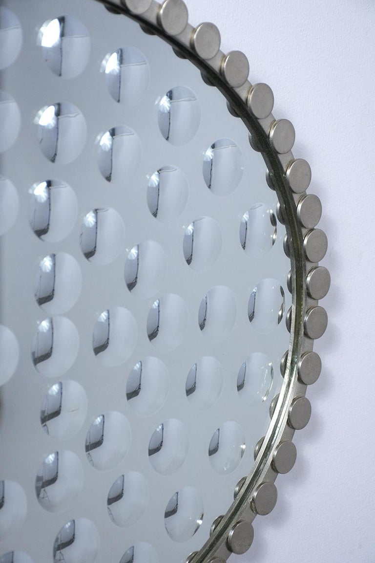 Fabric Mid-Century Modern Convex Wall Mirror For Sale