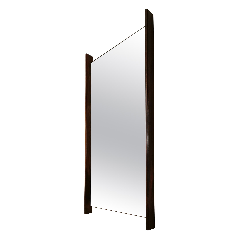 Mid Century Wall Mirror Glass Teak Wood Italian Design 1970s