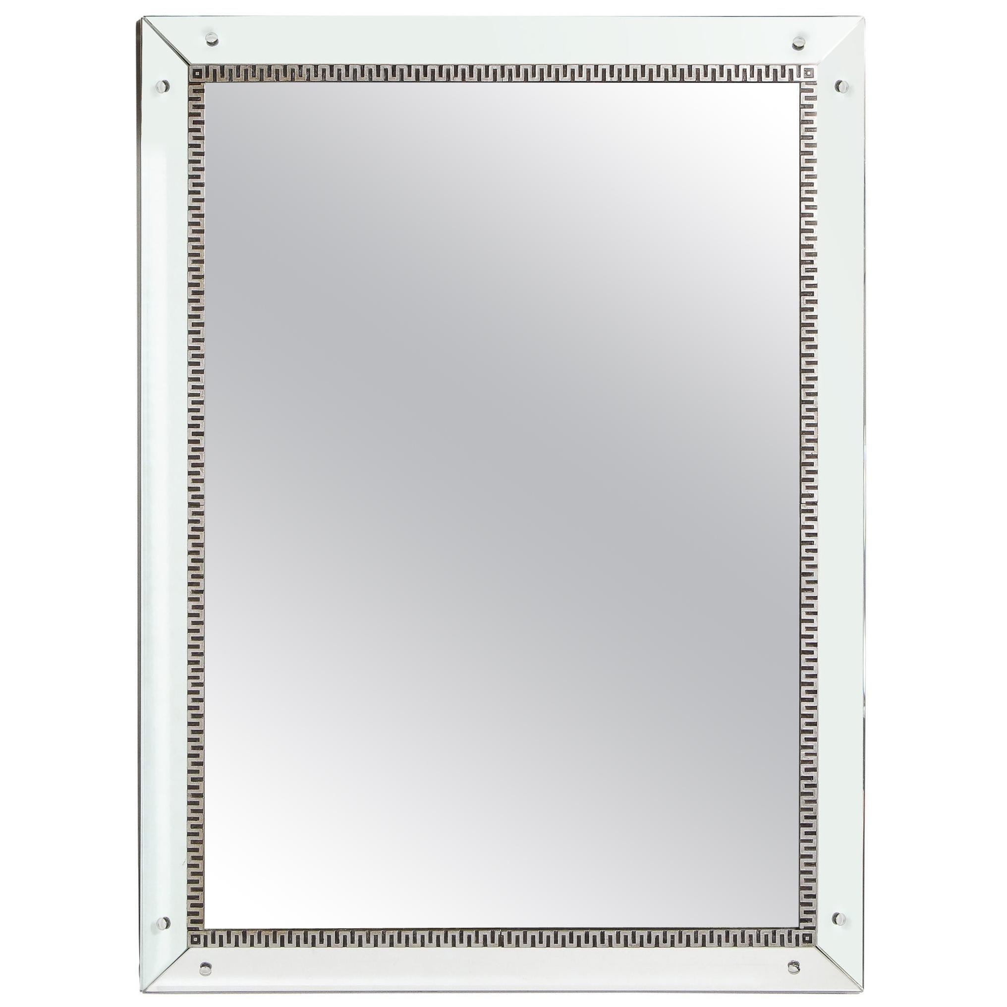 Mid-Century Modern Wall Mirror with Silver Leaf with Stylized Greek Key Motif