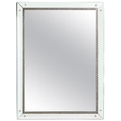 Mid-Century Modern Wall Mirror with Silver Leaf with Stylized Greek Key Motif
