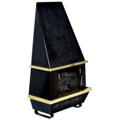 Mid-Century Modern Wall Mounting Black Electric Faux Fireplace, 1960s