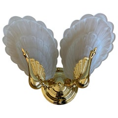 Mid-Century Modern Wall Sconce w. Golden Bronze Peacock Sculptures & Glass Wings