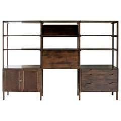 Mid-Century Modern Wall Shelving Unit Bookshelf Drop Down Desk Room Divider