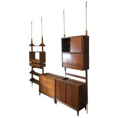Mid-Century Modern Wall Unit or Shelving Unit in Walnut from Germany