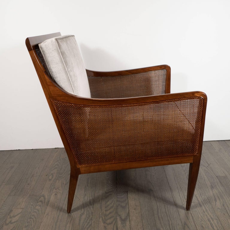 American Mid-Century Modern Walnut and Cane Club Chair in Smoked Platinum Velvet For Sale