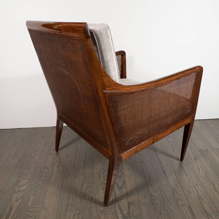 Mid-Century Modern Walnut and Cane Club Chair in Smoked Platinum Velvet In Excellent Condition For Sale In New York, NY