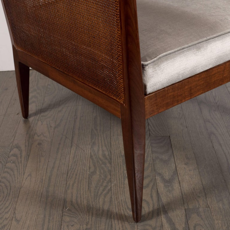 Mid-Century Modern Walnut and Cane Club Chair in Smoked Platinum Velvet For Sale 1