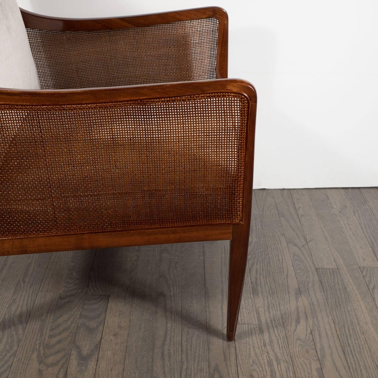 Mid-Century Modern Walnut and Cane Club Chair in Smoked Platinum Velvet For Sale 3