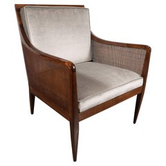 Mid-Century Modern Walnut and Cane Club Chair in Smoked Platinum Velvet